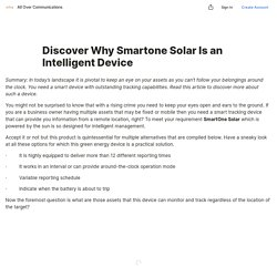 Discover Why Smartone Solar Is an IntelligentDevice