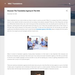 Discover The Translation Agency In The USA