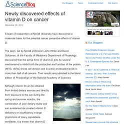 Newly discovered effects of vitamin D on cancer - ScienceBlog.com
