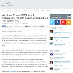Windows Phone SMS attack discovered, reboots device and disables messaging hub