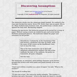 Discovering Assumptions