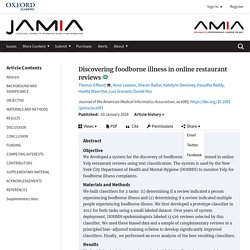 Journal of the American Medical Informatics Association, 10/01/18 Discovering foodborne illness in online restaurant reviews