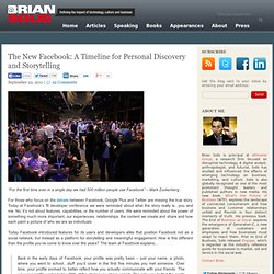 The New Facebook: A Timeline for Personal Discovery and Storytelling Brian Solis