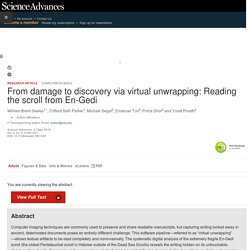 From damage to discovery via virtual unwrapping: Reading the scroll from En-Gedi