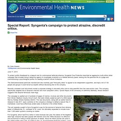 Special Report: Syngenta's campaign to protect atrazine, discredit critics