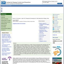 CDC EID - Volume 19, Number 4—April 2013 - Au sommaire notamment:Discrepancies in Data Reporting for Rabies, Africa