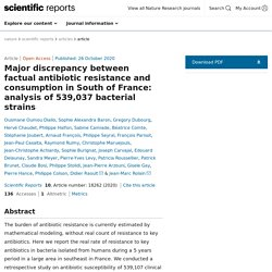 SCIENTIFIC REPORTS 26/10/20 Major discrepancy between factual antibiotic resistance and consumption in South of France: analysis of 539,037 bacterial strains