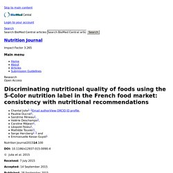 NUTRITION JOURNAL 28/09/15 Discriminating nutritional quality of foods using the 5-Color nutrition label in the French food market: consistency with nutritional recommendations