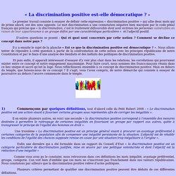 La discrimination positive est–elle démocratique