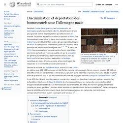 Discrimination et déportation des homosexuels sous l'Allemagne nazie