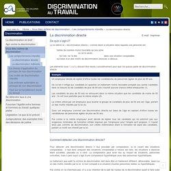 La discrimination directe - Discrimination au travail