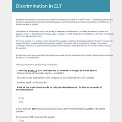Discrimination in ELT