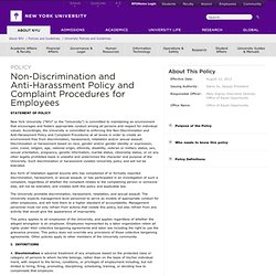 Non-Discrimination and Anti-Harassment Policy and Complaint Procedures for Employees