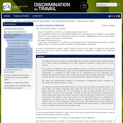 La discrimination indirecte - Discrimination au travail