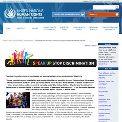 Combating discrimination based on sexual orientation and gender identity