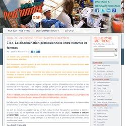 7.8.1. La discrimination professionnelle entre hommes et femmes