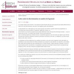 Lutte contre la discrimination en matière de logement - Rassemblement Bruxellois pour le Droit à l'Habitat