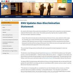 Non-Discrimination Statement Update – President's Office – Eastern Mennonite University