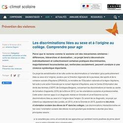 Climat scolaire - Les discriminations liées au sexe et à l'origine au collège. Comprendre pour agir