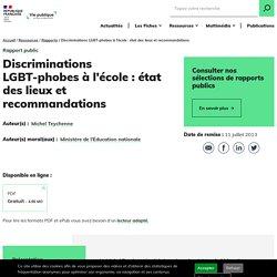 Discriminations LGBT-phobes a l'ecole : etat des lieux et recommandation