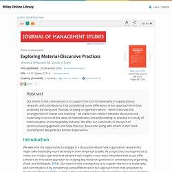 Exploring Material-Discursive Practices - Orlikowski - 2014 - Journal of Management Studies