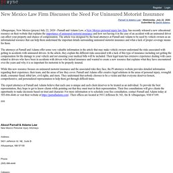New Mexico Law Firm Discusses the Need For Uninsured Motorist Insurance