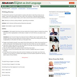Writing Storms - Short Writing and Discussion Topics for ESL EFL English Classroom Lessons - Ready to Go Lesson Plan for English Teachers