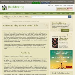 Games to break the ice at book discussion groups and other occasions