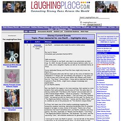 Discussion Boards: Pixar memorial for Joe Ranft ... highlights story Page 1 of 1 - LaughingPlace.com: Disney World, Disneyland and More