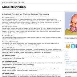 A Code of Conduct for Effective Rational Discussion — LimbicNutrition
