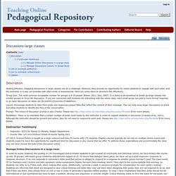 Discussions large classes - Pedagogical Repository