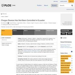 PLOS 28/06/16 Chagas Disease Has Not Been Controlled in Ecuador