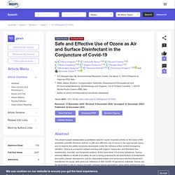 GASES 24/12/20 Safe and Effective Use of Ozone as Air and Surface Disinfectant in the Conjuncture of Covid-19