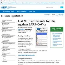 List N: Disinfectants for Use Against SARS-CoV-2