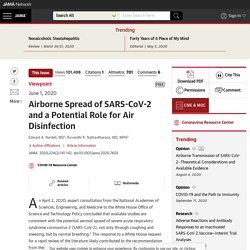Airborne Spread of SARS-CoV-2 and a Potential Role for Air Disinfection