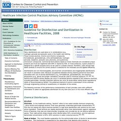 Disinfection & Sterilization Guideline:Disinfection - HICPAC