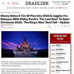 Disney Dates A Ton Of Pics Into 2023 & Juggles Fox Releases