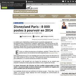 Disneyland Paris : 8 000 postes à pourvoir en 2014