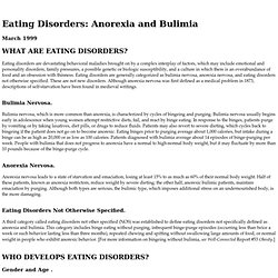 Eating Disorders: Anorexia and Bulimimia