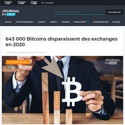 643 000 Bitcoins disparaissent des exchanges en 2020