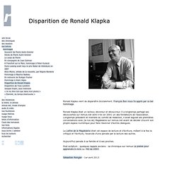 Disparition de Ronald Klapka