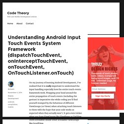 Understanding Android Input Touch Events System Framework (dispatchTouchEvent, onInterceptTouchEvent, onTouchEvent, OnTouchListener.onTouch) – Code Theory