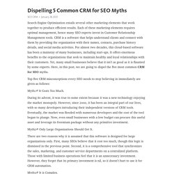 Dispelling 5 Common CRM for SEO Myths