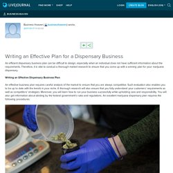 Writing an Effective Plan for a Dispensary Business: businessheaven