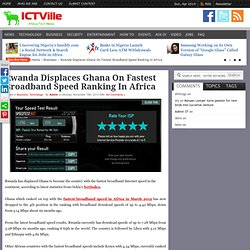 Rwanda Displaces Ghana On Fastest Broadband Speed Ranking In Africa – ICTVILLE