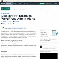 Display PHP Errors as Admin Alerts