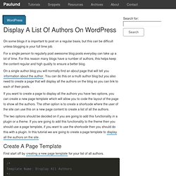 Display A List Of Authors On WordPress