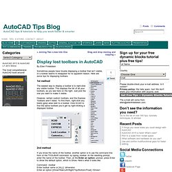 Display lost toolbars in AutoCAD - AutoCAD Tips Blog