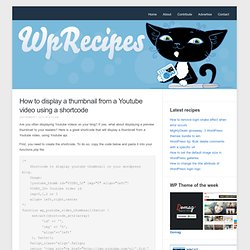 How to display a thumbnail from a Youtube using a shortcode