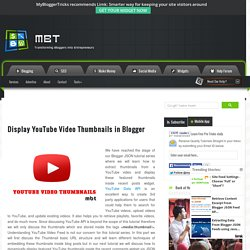 Display YouTube Video Thumbnails in Blogger